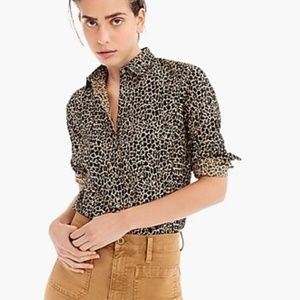 J. Crew Perfect Shirt in Leopard Print